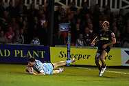Alex Cuthbert of the Blues dives over for a second half try.   Rabodirect pro12, Newport Gwent Dragons v Cardiff Blues at Rodney Parade, Newport,  South Wales on Sat 15th Sept 2012.   pic by  Andrew Orchard, Andrew Orchard sports photography,