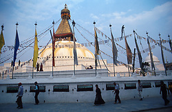 NEPAL KATHMANDU APR95 - Buddhist worshippers walk around the Bodnath Temple in Kathmandu.<br /> <br /> jre/Photo by Jiri Rezac<br /> <br /> © Jiri Rezac 1995<br /> <br /> Tel: +44 (0) 7050 110 417<br /> Email: info@jirirezac.com<br /> Web: www.jirirezac.com
