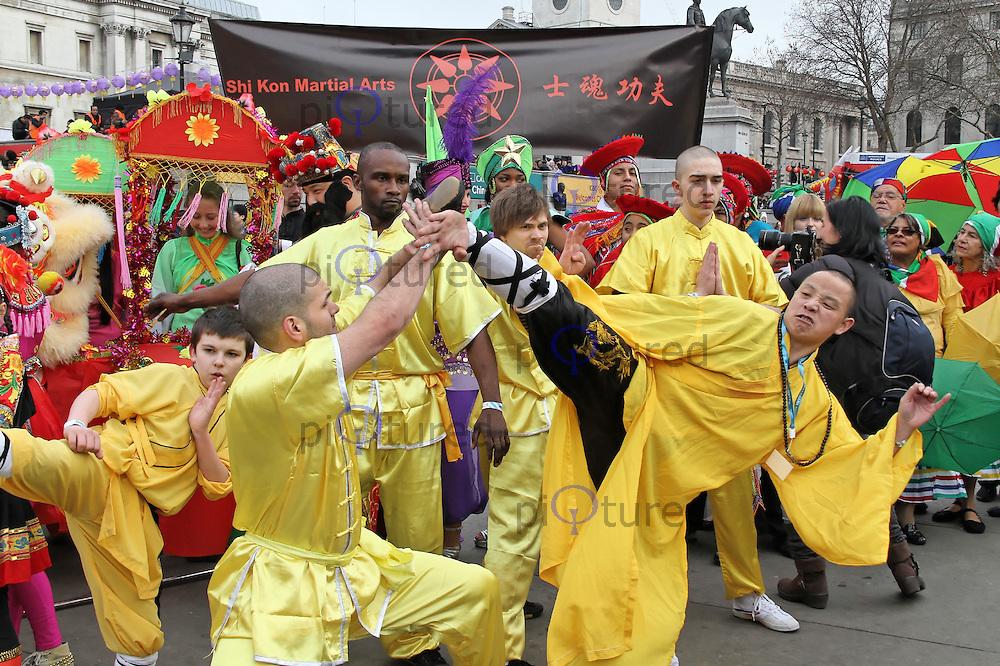 LONDON - JANUARY 29: Chinese New Year London Celebrations in Cambridge Circus and Trafalgar Square, London, UK on January 29, 2012. (Photo by Richard Goldschmidt)