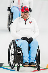March 17, 2018 - Pyeongchang, SOUTH KOREA - 180317 Ole Fredrik Syversen of Norway during the wheelchair curling final match between China and Norway during day eight of the 2018 Winter Paralympics on March 17, 2018 in Pyeongchang..Photo: Vegard Wivestad GrÂ¿tt / BILDBYRN / kod VG / 170135 (Credit Image: © Vegard Wivestad Gr¯Tt/Bildbyran via ZUMA Press)