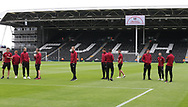 The Norwich players before the Sky Bet Championship match at Craven Cottage, London<br /> Picture by Paul Chesterton/Focus Images Ltd +44 7904 640267<br /> 05/08/2017
