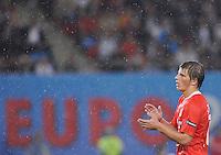 """FUSSBALL EUROPAMEISTERSCHAFT 2008  Russland - Spanien    26.06.2008 Andrei Arshavin (RUS) gestikuliert vor dem Schriftzug """"Euro 2008""""."""