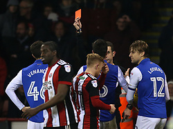 Glenn Loovens of Sheffield Wednesday is shown a red card and sent off - Mandatory by-line: Robbie Stephenson/JMP - 12/01/2018 - FOOTBALL - Bramall Lane - Sheffield, England - Sheffield United v Sheffield Wednesday - Sky Bet Championship