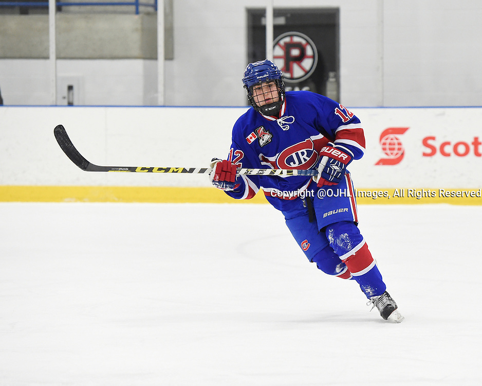 TORONTO, ON - Oct 17, 2015 : Ontario Junior Hockey League game action between Newmarket and Toronto, Jake Joffe #12 of the Toronto Jr. Canadiens skates up the ice during the first period.<br /> (Photo by Andy Corneau / OJHL Images)