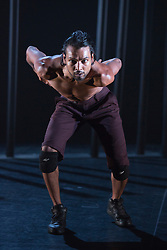 © Licensed to London News Pictures. 16/09/2015. London, UK. Pictured: Shailesh Bahoran. Dress rehearsal for the World Premiere of Shobana Jayasingh's new work Material Men performed by bharathanatyam soloist Sooraj Subramaniam and hip hop dancer Shailesh Bahoran at Queen Elizabeth Hall, Southbank Centre. Material Men premieres in a double bill with 2013 commission Strange Blooms on 16 September 2015 and then tours to Cheltenham, Brighton, Swansea and Aberystwyth. Photo credit: Bettina Strenske/LNP
