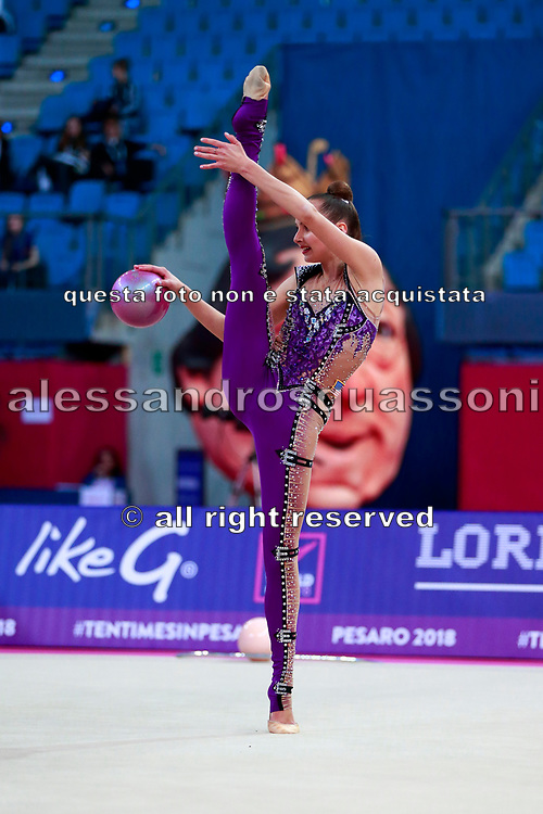 Feeley Camilla during Qualification of ball at World Cup Pesaro 2018. Feeley is gymnast from U.S.A.