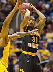 Dec 23, 2016; Morgantown, WV, USA; Northern Kentucky Norse guard Lavone Holland II (30) shoots a three pointer during the first half against the West Virginia Mountaineers at WVU Coliseum. Mandatory Credit: Ben Queen-USA TODAY Sports