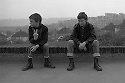 Boys Sitting on a Brick Wall, High Wycombe, UK, 1980s.