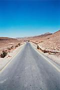 Israel, A lone road  in the Judea Desert