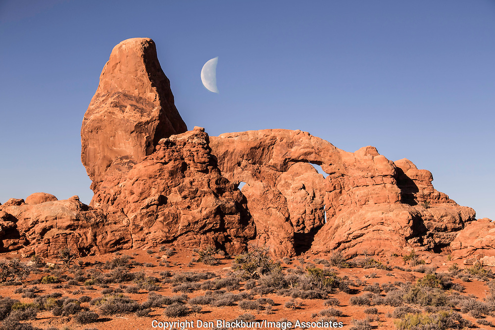 Half Moon Over Turret Arch, Arches National Park, Utah