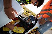 Iris Slappendel finisht na een testrun. In Battle Mountain, Nevada, oefent het team op een weggetje. Het Human Power Team Delft en Amsterdam, dat bestaat uit studenten van de TU Delft en de VU Amsterdam, is in Amerika om tijdens de World Human Powered Speed Challenge in Nevada een poging te doen het wereldrecord snelfietsen voor vrouwen te verbreken met de VeloX 7, een gestroomlijnde ligfiets. Het record is met 121,44 km/h sinds 2009 in handen van de Francaise Barbara Buatois. De Canadees Todd Reichert is de snelste man met 144,17 km/h sinds 2016.<br /> <br /> With the VeloX 7, a special recumbent bike, the Human Power Team Delft and Amsterdam, consisting of students of the TU Delft and the VU Amsterdam, wants to set a new woman's world record cycling in September at the World Human Powered Speed Challenge in Nevada. The current speed record is 121,44 km/h, set in 2009 by Barbara Buatois. The fastest man is Todd Reichert with 144,17 km/h.