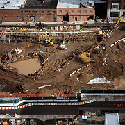 March 8, 2017 - New York, NY : Columbia University's Manhattanville campus is rising on a 17-acre site in West Harlem, north of Columbia's Morningside Heights campus.  Earth moving machinery works, on Wednesday morning, on a lot which will eventually house the new Columbia Business school building. CREDIT: Karsten Moran for The New York Times