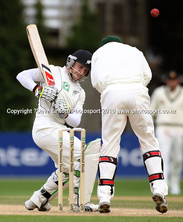 Australian keeper Brad Haddin struggles to control the ball off NZ batsman Brendon McCullum.<br /> 1st cricket test match - New Zealand Black Caps v Australia, day four at the Basin Reserve, Wellington. Monday, 21 March 2010. Photo: Dave Lintott/PHOTOSPORT