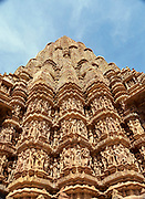 India, Madhya Pradesh. Khajuraho temples, famous for their erotic reliefs. Kandariya Mahadeva Temple.