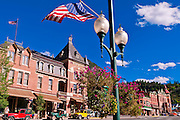 Lamp post and flag in downtown Ouray, Colorado