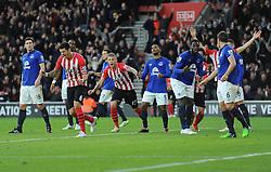 Southampton's Jose Fonte celebrates (right) while Everton's Romelu Lukaku looks dejected after scoring an own goal. - Photo mandatory by-line: Alex James/JMP - Mobile: 07966 386802 - 20/12/2014 - SPORT - Football - Southampton  - St Mary's Stadium - Southampton  v Everton - Football