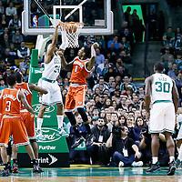 21 December 2012: Boston Celtics small forward Paul Pierce (34) dunks the ball over Milwaukee Bucks center Larry Sanders (8) during the Milwaukee Bucks 99-94 overtime victory over the Boston Celtics at the TD Garden, Boston, Massachusetts, USA.