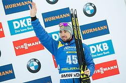 Third placed Alexander Loginov (RUS) celebrates at medal ceremony after the Men 10km Sprint at day 6 of IBU Biathlon World Cup 2018/19 Pokljuka, on December 7, 2018 in Rudno polje, Pokljuka, Pokljuka, Slovenia. Photo by Vid Ponikvar / Sportida