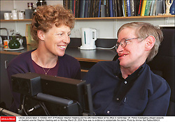 Liibrary picture taken in October 2001 of Professor Stephen Hawking and his wife Elaine Mason at his office in Cambridge, UK. Police investigating alleged assaults on disabled scientist Stephen Hawking said on Monday March 29, 2004 there was no evidence to substantiate the claims. Photo by Ammar Abd Rabbo/ABACA  | 57883_02