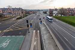 © Licensed to London News Pictures. 24/03/2020. Leeds UK. York road in Leeds, one of the main routes into the city centre is almost empty this morning on the first day of the Covid 19 Lockdown. Photo credit: Andrew McCaren/LNP