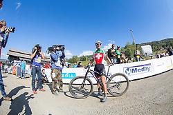 Jolanda Neff of Switzerland moments after winning the 2014 UCI Mountainbike World Championships in the U23 women's XCO race at Hafjell, Norway.