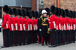 The 1st Battalion Coldstream Guards undergoes inspection by Major General Commanding the Household Division, Major General Ben Bathurst at Victoria Barracks in Windsor, Berkshire. The battalion has been chosen to Troop its Colour for the Queen's Birthday Parade on 9th June.  Before then these operational soldiers have to perfect hundreds of precision ceremonial drill moves and achieve a standard of turnout of uniform, equipment and bearing which is nothing short of excellence. PICTURED: Major General Ben Bathurst inspects the soldiers.<br /> <br /> Victoria Barracks, Windsor, Berks, February 21 2018.