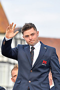 Alex Fitzpatrick (GB&I) waves to the crowds during the Walker Cup Opening Ceremony, Friday at the Royal Liverpool Golf Club, Friday, Sept 6, 2019, in Hoylake, United Kingdom. (Steve Flynn/Image of Sport)