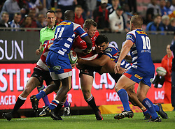 Andries Coetzee of the Emirates Lions is forced into touch during the first half of the Vodacom Super Rugby match between the DHL Stormers and the Emirates Lions at DHL Newlands in Cape Town, South Africa, Saturday May 26 2018. <br /> (Roger Sedres/ANA)