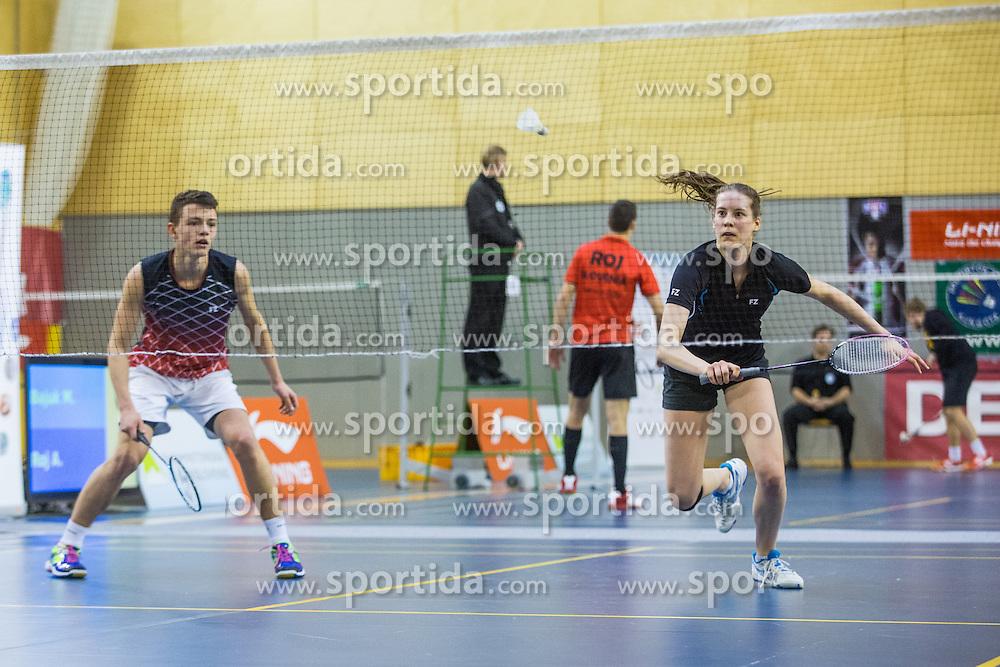 Miha Ivanic (BK Medvode) and Lia Salehar (BK Kocevje) during 58th Slovenian national championship in badminton on Februar 1, 2015 in Zg. Kungota, Slovenia. (Photo By Grega Valancic / Sportida)