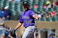 SCOTTSDALE, AZ - FEBRUARY 25:  Tyler Anderson #44 of the Colorado Rockies points during the spring training game against the Arizona Diamondbacks at Salt River Fields at Talking Stick on February 25, 2017 in Scottsdale, Arizona.  (Photo by Jennifer Stewart/Getty Images)