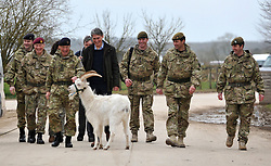 © Licensed to London News Pictures. 09/03/2012. Copedown Hill, UK. Lance Cpl Taffi the goat interrupts the arrival. (Left to right) David Richards (black hat), Chief of Defence Staff, Philip Hammond (dark clothing), Secretary of Defence and Brigadier Doug Chalmers (second from right).  Secretary of Defence Philip Hammond visits troops who are being deployed to Afghanistan next month. The 12th Mechanized Brigade (12 Mech Bde) at Copehill Down, Salisbury Plain Training Area, Wiltshire, on FRIDAY 09 MARCH 2012, as it prepares to deploy to Helmand Province, Afghanistan, on Operation Herrick 16, in the Spring of this year. The Brigade were performing a dynamic demonstration of combined Afghan/ISAF operations supported by surveillance assets and casualty evacuation capability. Tornado GR4 fast jest ground support was also displayed.. Photo credit : Stephen SImpson/LNP