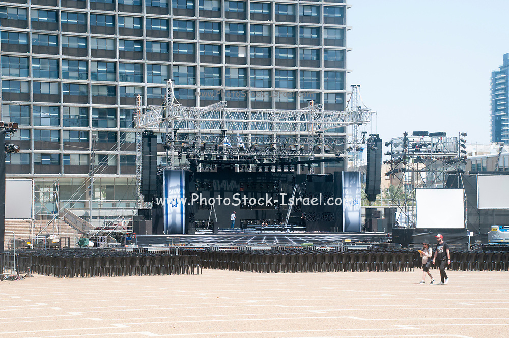 Rabin Square, Tel Aviv, Israel. a stage is erected in preparation for Independence Day celebrations