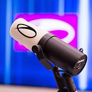NLD/Amsterdam/20170202 - Armin van Buuren opent eigen A State Of Trance-radiostudio, microfoon met logo van Armin van Buuren