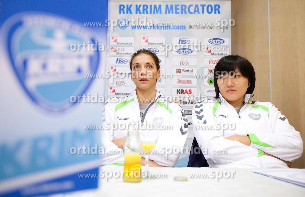 Andrea Penezic and Ljudmila Bodnjeva during press conference of handball team RK Krim Mercator before new season 2010-2011, on September 29, 2010 in M-Hotel, Ljubljana, Slovenia. (Photo By Vid Ponikvar / Sportida.com)