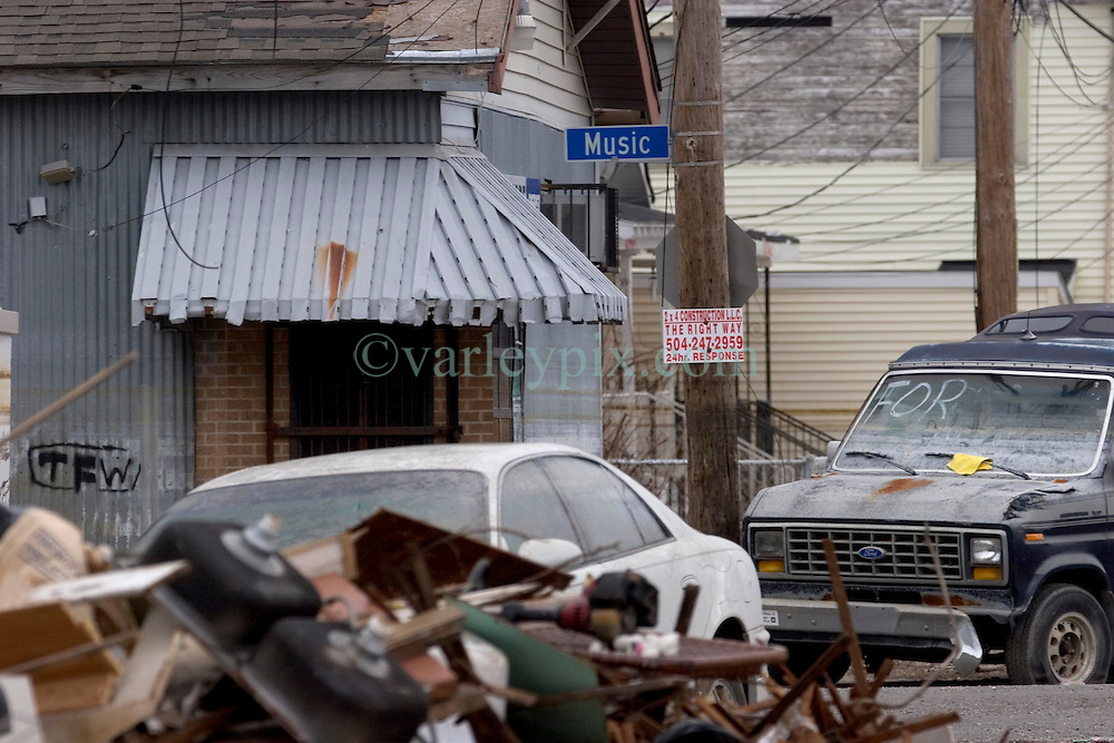 10  December, 05. New Orleans, Louisiana. Post Katrina aftermath. <br /> The day the Music died? Music street in Gentilly remains piled high with debris and flooded cars long after the devastating flood from Hurricane Katrina subsided.<br /> Photo; &copy;Charlie Varley/varleypix.com