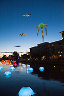 Canal Convergence was a Scottsdale Public Arts display presented on 2/23-26, 2017.  The kite fish are Les Lumineoles and canal mushrooms are Lentille d'eau by Porte par le vent.