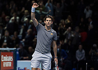 Tennis - 2019 Nitto ATP Finals at The O2 - Day One<br /> <br /> Singles Group Bjorn Borg: Roger Federer (Switzerland) vs. Dominic Thiem (Austria)<br /> <br /> Dominic Thiem (Austria) acknowledges the crowd after his 2 set win over Roger Federer (Switzerland) <br /> <br /> COLORSPORT/DANIEL BEARHAM