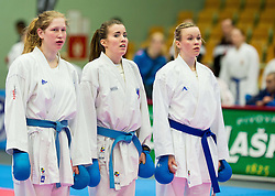 Tanja Vrbnjak, Tjasa Ristic and Lina Pusnik of Slovenia during of Kumite Team female at Day Two of Karate 1 World Cup - Thermana Slovenia Lasko 2014 tournament, on March 16, 2014 in Arena Tri Lilije, Lasko, Slovenia.Photo by Vid Ponikvar / Sportida