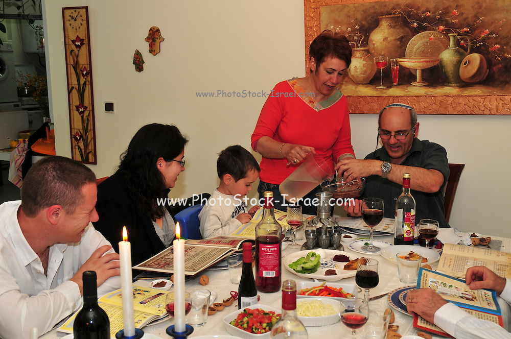 Family around the table for the traditional passover dinner, April 8, 2009.
