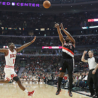 16 March 2012: Portland Trail Blazers guard Wesley Matthews (2) takes a jumpshot over Chicago Bulls shooting guard Ronnie Brewer (11) during the Portland Trail Blazers 100-89 victory over the Chicago Bulls at the United Center, Chicago, Illinois, USA.