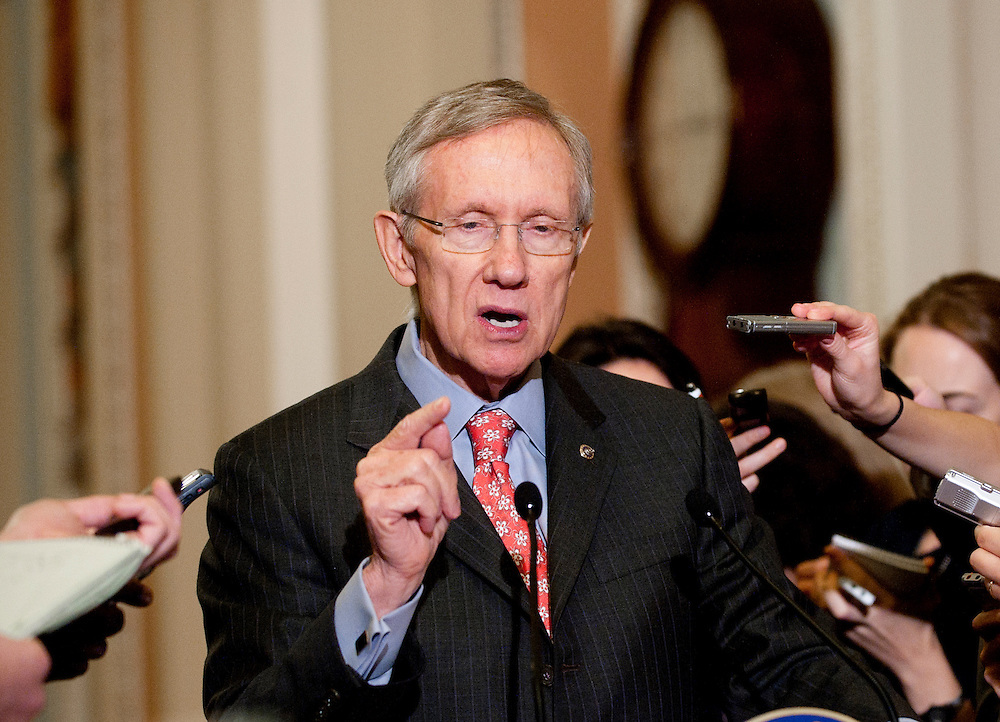 Dec 2, 2010 - Washington, District of Columbia, U.S. - Senate Majority Leader HARRY REID (D-NV) speaks to the media following the Democratic Caucus meeting on Thursday about the lame duck congressional agenda..(Credit Image: © Pete Marovich/ZUMA Press)