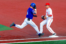 NORMAL, IL - May 01: Jack Butler gets the put out throw ahead of Clay Dungan getting to the bag during a college baseball game between the ISU Redbirds and the Indiana State Sycamores on May 01 2019 at Duffy Bass Field in Normal, IL. (Photo by Alan Look)
