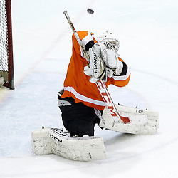 Whitby, ON - Feb 11 : Ontario Junior Hockey League game action between the Whitby Fury and the Orangeville Flyers. Orangeville Flyers Robert Kopytek #31 makes the save during second period game action.<br /> (Photo by Tim Bates / OJHL Images)