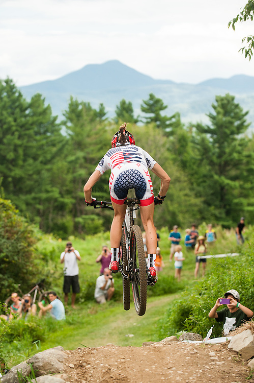 Lea Davison, Specialized, with Camels Hump in the background. The Catamount Classic Pro XCT Race, Williston, Vermont. All Photographs © 2013 Rajan Chawla Photography. ALL RIGHTS RESERVED. http://www.rajchawla.com.