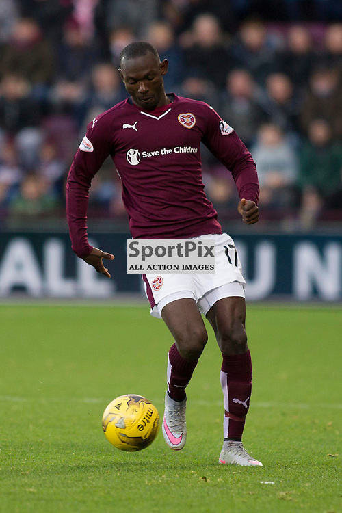 Juwon Oshaniwa of Hearts during the Ladbrokes Scottish Premiership match between Heart of Midlothian FC and Dundee FC at Tynecastle Stadium on November 21, 2015 in Edinburgh, Scotland. Photo by Jonathan Faulds/SportPix