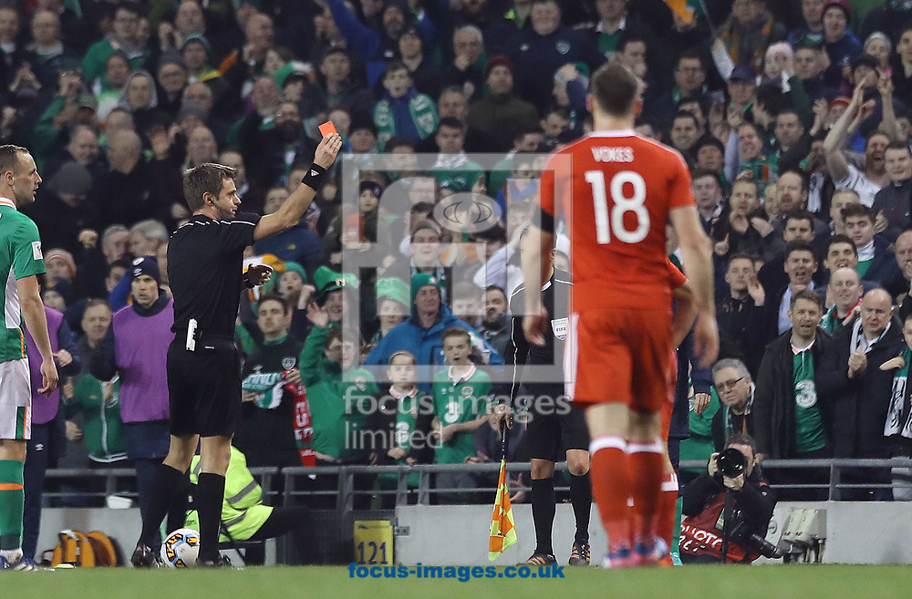 Neil Taylor of Wales is sent off during the 2018 FIFA World Cup Qualifying match at the Aviva Stadium, Dublin<br /> Picture by Lorraine O'Sullivan/Focus Images Ltd +353 872341584<br /> 24/03/2017