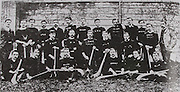 Dublin (Kickhams) - All-Ireland Hurling Champions 1889. Back Row: John Molloy (Pres Kickhams), Thomas Belton, Pat Ryan, J Cahill, Unknown, Ned Galligan, Fred Palmer, Sil Riordan, Pat O'Shea, Unknown, Pat Riordan, Michael Madigan, Unknown. Middle Row: James Harper, Charles Hacket, Frank Coghlan, Thomas Maher, John Bishop. Front Row: Thomas Butler, John Lambe, Nicholas O'Shea (Capt), Dan Kerwick, J D O'Bryne, Thomas McKenna.