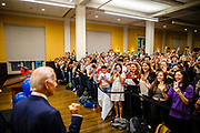 Former Vice President Joe Biden (left) acknowledges the crowd filled with students during a voter registraion event held at Houston Hall at University of Pennsylvania in Philadelphia, Pennsylvania on September 25, 2018.