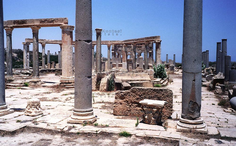 Libia, Leptis Magnia.Considerato il più bel sito romano del Mediterraneo, il mercato..Libya, Leptis Magna.Considered the best Roman site in the Mediterranean,the market