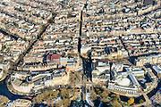 Nederland, Noord-Holland, Amsterdam, 28-10-2016; winters stadsgezicht, Weteringsschans, Max Eeuweplein, Kleine Gartmanplantsoen, Leidseplein, Leidsestraat. Onder andere Stadsschouwburg, casino en de Balie.<br /> Wintry townscape, casino and theatre culturel centre De Balie.<br /> luchtfoto (toeslag op standard tarieven);<br /> aerial photo (additional fee required);<br /> copyright foto/photo Siebe Swart
